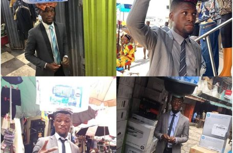 Meet Michael Chukwuebuka Who Sells Bottled, Pure Water In Suit In Lagos